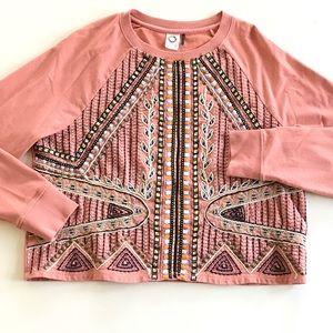 ANTHROPOLOGIE Akemi+Kin  Embroidered Sweatshirt M